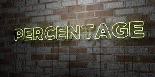 PERCENTAGE - Gloeiend Neonteken op metselwerkmuur - 3D teruggegeven royalty vrije voorraadillustratie Royalty-vrije Stock Afbeeldingen