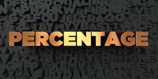 Percentage - Gouden tekst op zwarte achtergrond - 3D teruggegeven royalty vrij voorraadbeeld Royalty-vrije Stock Fotografie