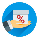 Percentage on hand web icon. vector design Royalty Free Stock Photography