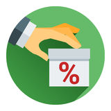 Percentage on hand web icon. vector design Stock Images