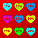 Percentage in hearts Stock Photos
