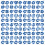 Percentage icons full blue set Royalty Free Stock Photo