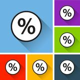 Percentage icons with long shadow. Illustration of percentage icons with long shadow Stock Photography