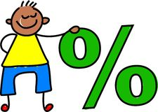 Percentage kid Stock Image