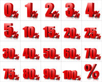 Percentage Numbers Series. Red Percentage Numbers Series on White Background Illustration Stock Images