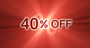 Percentage off discount red banner Royalty Free Stock Photos