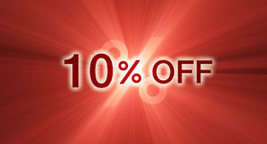 Percentage off discount red banner. A 10% percent off promotional slogan with glowing red light flare. Other percentages of discount are available. Special Royalty Free Stock Image