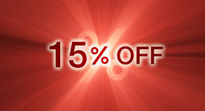 Percentage off discount red banner. A 15% percent off promotional slogan with glowing red light flare background. Other percentages of discount are available Stock Photography