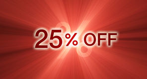 Percentage off discount red banner Stock Photos