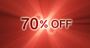 70 percentage off discount red banner. A 70% percent off marketing promotional slogan with eye catching glowing light flare. Other discount percentages are vector illustration