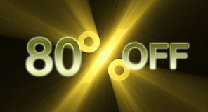 80 percentage off discount sale banner. A 80% percent off promotional slogan with unique golden yellow light flare Royalty Free Stock Photography