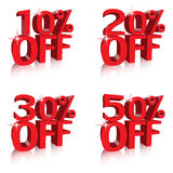 Percentage off discounts. Tags banners Royalty Free Stock Photos