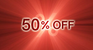 Percentage Off Half Discount Banner Flare Royalty Free Stock Photo