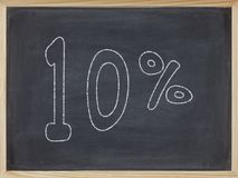 Percentage op een bord wordt geschreven dat Stock Afbeeldingen