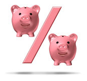 Percentage Piggy Bank. Symbol with a percent sign and pink savings pigs as representations in the financial icon representing interest rates and the business of Royalty Free Stock Images