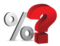 Percentage and question. Mark illustration design over white Royalty Free Stock Photo