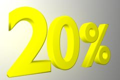 20 percentage rate icon on a white background. Discount text with numbers on withe background. Vector illustration in 3D illustration Stock Photo