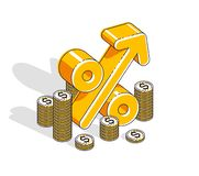 Percentage rate income profit concept, percent dimensional symbol with cash money stack isolated on white background. Vector 3d i. Sometric business and finance stock illustration