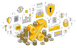Percentage rate income profit concept, percent symbol with cash. Money stack isolated on white background. Isometric 3d vector finance illustration with icons Vector Illustration