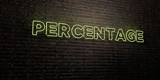 PERCENTAGE - Realistisch Neonteken op Bakstenen muurachtergrond - 3D teruggegeven royalty vrij voorraadbeeld Royalty-vrije Stock Fotografie