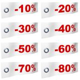 Percentage ribbons. 3d rendered ribbons with percentage signs Royalty Free Stock Photo
