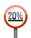 20 percentage road sign illustration design Royalty Free Stock Images