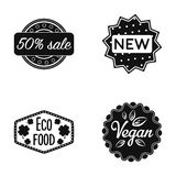 Percentage sale, new, eco food, vegan.Label,set collection icons in black style vector symbol stock illustration web. Stock Photo