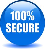 100 secure web button. 100 percentage secure web button icon on isolated white background - vector illustration Stock Images