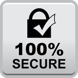 100 secure web button. 100 percentage secure web button icon on isolated white background - vector illustration Stock Photography