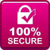 100 secure web button. 100 percentage secure web button icon on isolated white background - vector illustration Royalty Free Stock Image