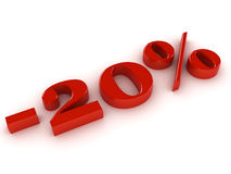 Percentage sign. Red reflective percentage sign isolated with white background. 3D render stock illustration