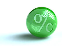 Percentage sign on ball. Closeup of percentage sign on spherical green ball, isolated on white background Stock Photo
