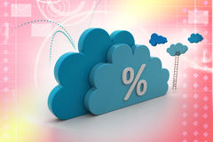 Percentage sign in cloud. In attractive color background Stock Photo