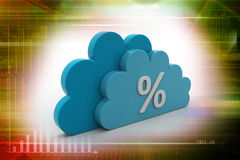 Percentage sign in cloud. In attractive color background Royalty Free Stock Image