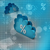 Percentage sign in cloud. In color background Stock Image