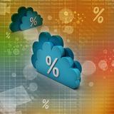 Percentage sign in cloud. In color background Stock Photos