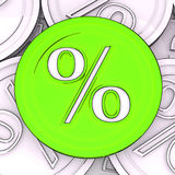 Percentage Sign Coin Meaning Interest Rates. Percentage Sign Coin Means Interest Rates Stock Photo