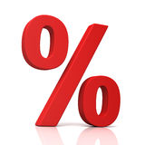 Percentage sign concept illustration. Percentage sign 3d illustration isolated on white background Royalty Free Stock Photos