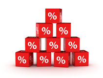 Percentage sign design background. Percentage sign discount design background. Red cubes stacked Stock Image