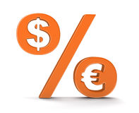 Percentage Sign with dollar and euro (clipping path included) Stock Photography