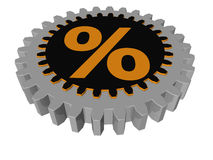Percentage sign - gear - 3D vector illustration