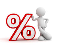 Percentage sign and man concept  3d illustration Royalty Free Stock Images