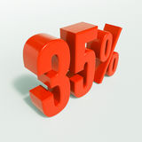 Percentage sign, 35 percent. 3d render: 35 percent, percentage discount sign on white, 35 Royalty Free Stock Images