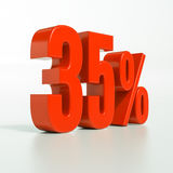 Percentage sign, 35 percent. 3d render: 35 percent, percentage discount sign on white, 35 Royalty Free Stock Image