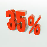 Percentage sign, 35 percent. 3d render: 35 percent, percentage discount sign on white, 35 Royalty Free Stock Photography
