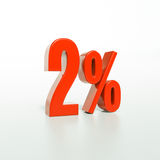 Percentage sign, 2 percent. 3d render: 2 percent, percentage discount sign on white, 2 royalty free stock photography