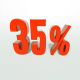 Percentage sign, 35 percent. 3d render: 35 percent, percentage discount sign on white, 35 Stock Photo