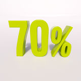 Percentage sign, 70 percent. 3d render: green 70 percent, percentage discount sign on white, 70 Royalty Free Stock Images