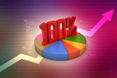 Percentage sign with pie chart Stock Photos