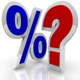 Percentage Sign Quesiton Mark Search for Best Rate. A percentage symbol stands beside a question mark, illustrating the questioning of whether a certain interest Stock Image